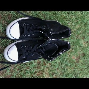 Black Gold Custom Design Converse High Tops Unisex